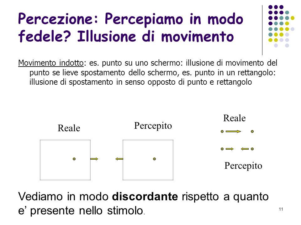 Percezione: Percepiamo in modo fedele Illusione di movimento