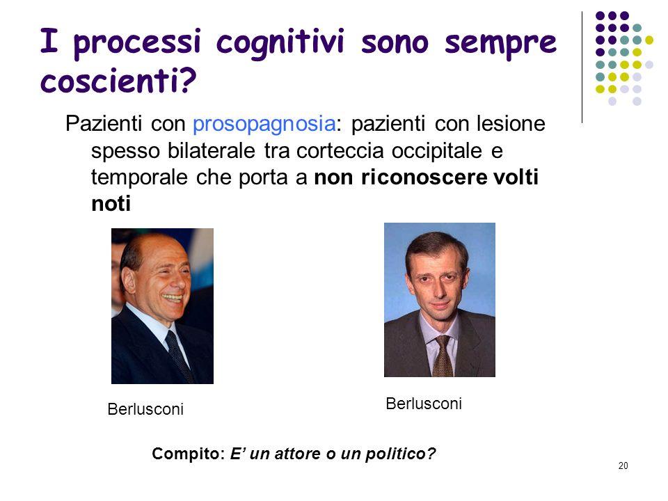 I processi cognitivi sono sempre coscienti