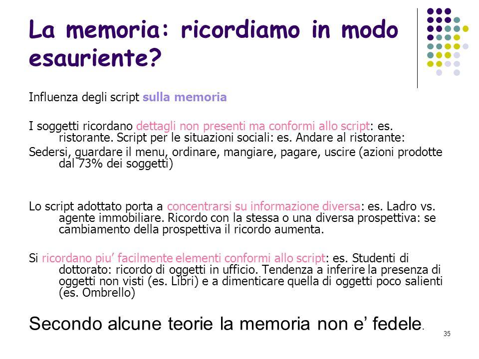 La memoria: ricordiamo in modo esauriente