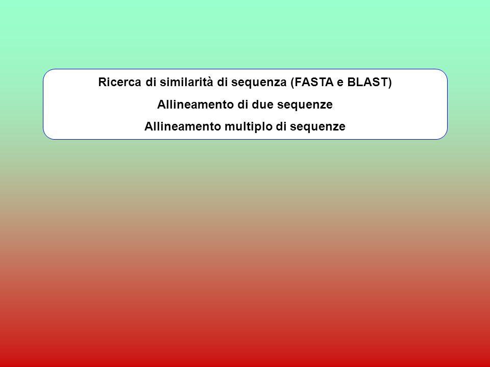 Ricerca di similarità di sequenza (FASTA e BLAST)