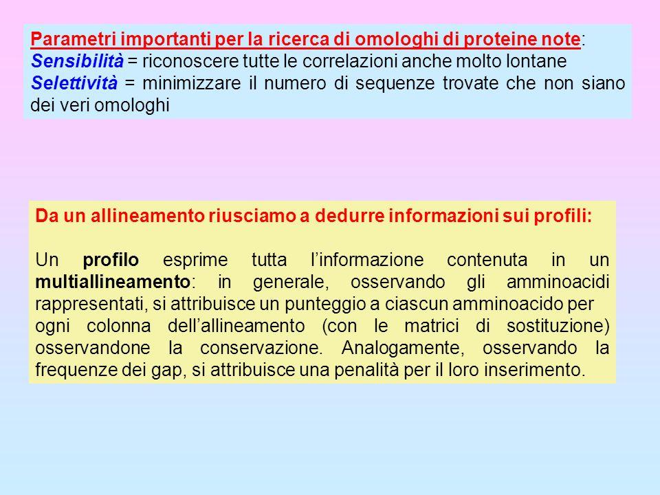 Parametri importanti per la ricerca di omologhi di proteine note: