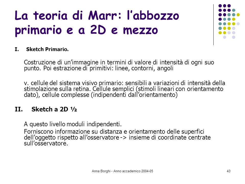 La teoria di Marr: l'abbozzo primario e a 2D e mezzo