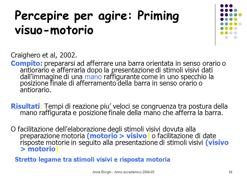 Percepire per agire: Priming visuo-motorio