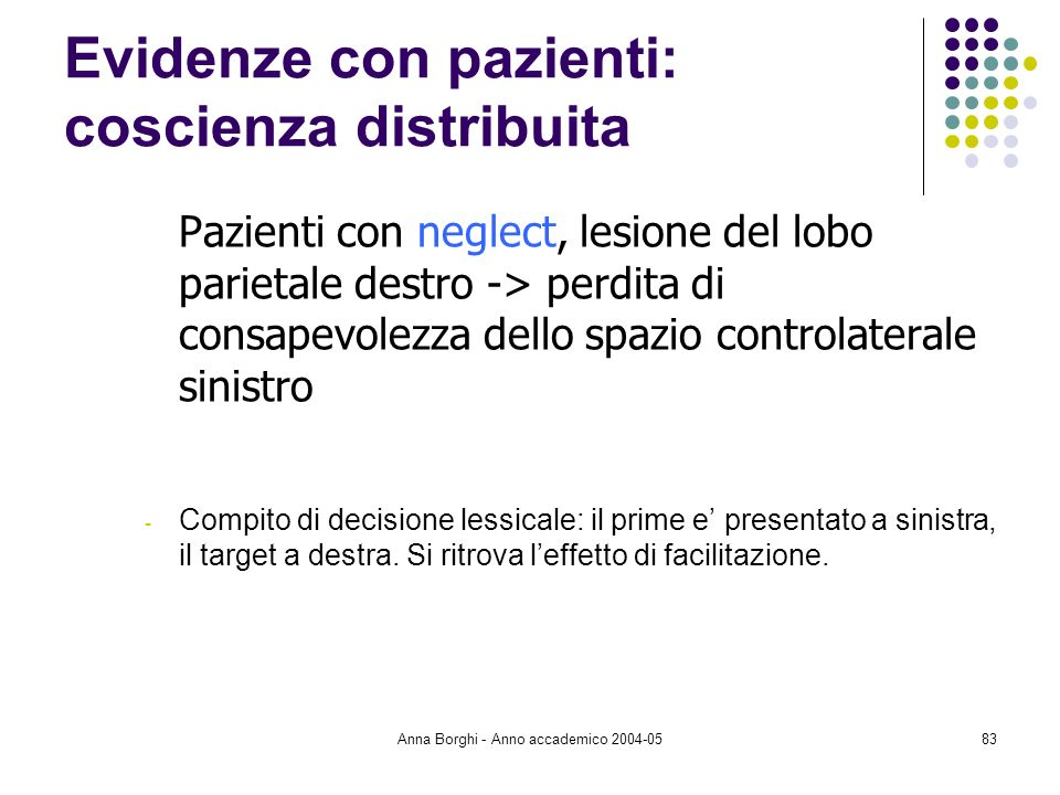 Evidenze con pazienti: coscienza distribuita