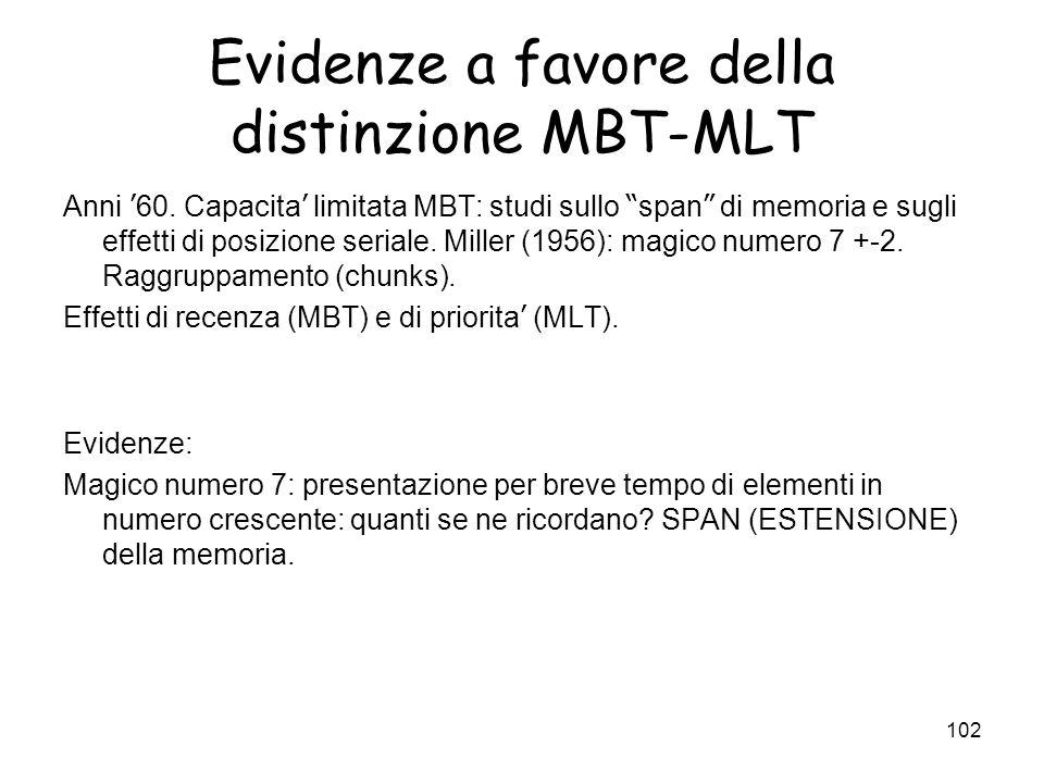 Evidenze a favore della distinzione MBT-MLT