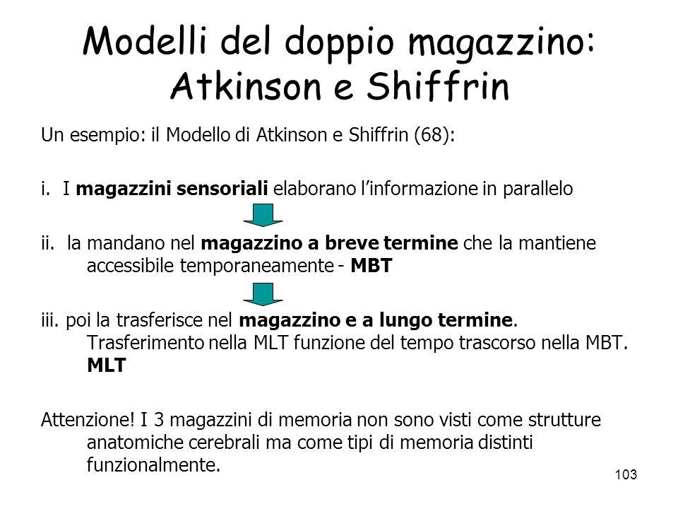 Modelli del doppio magazzino: Atkinson e Shiffrin
