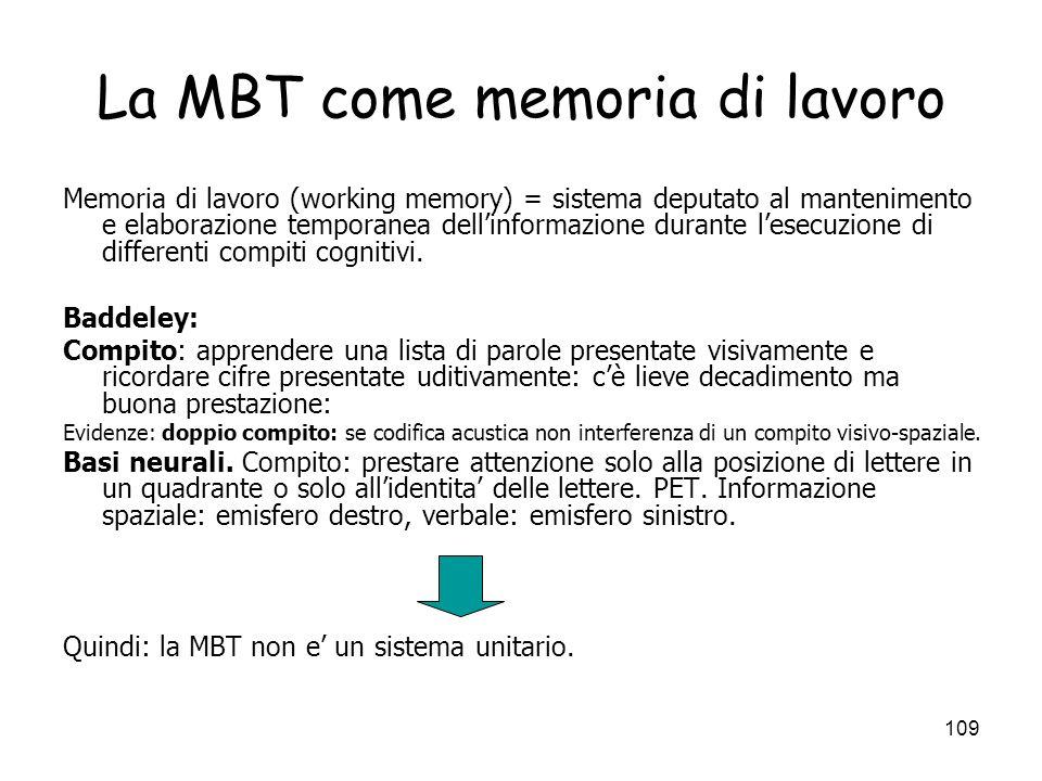 La MBT come memoria di lavoro