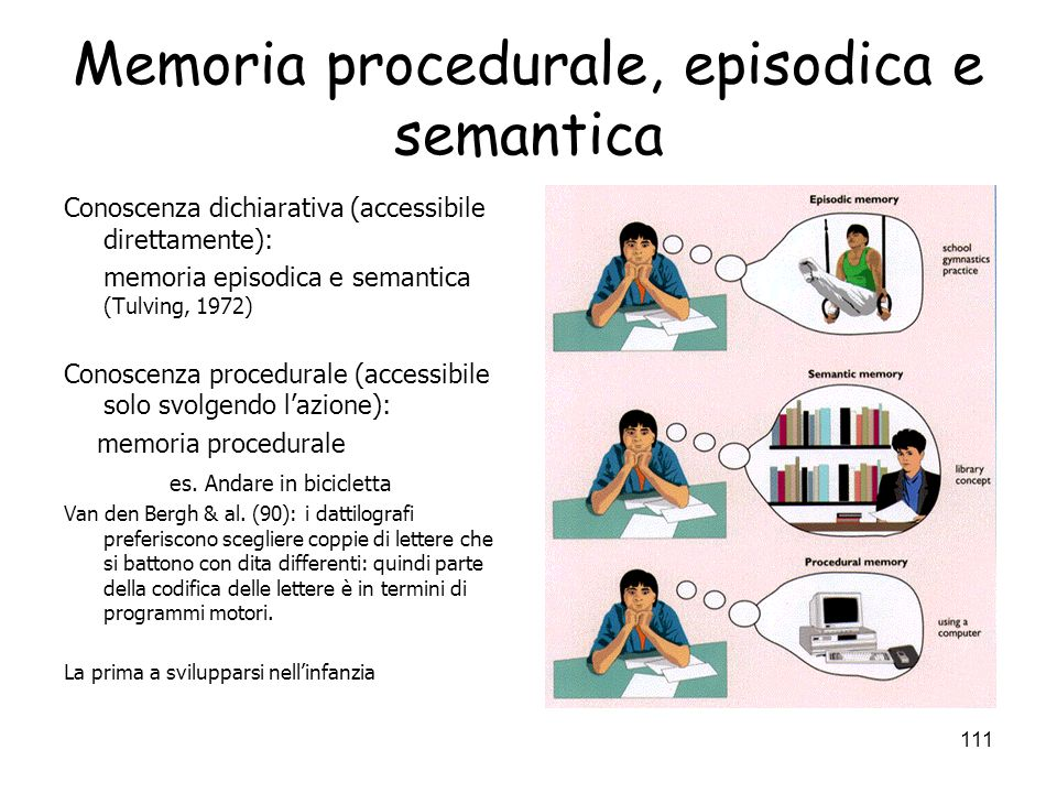 Memoria procedurale, episodica e semantica