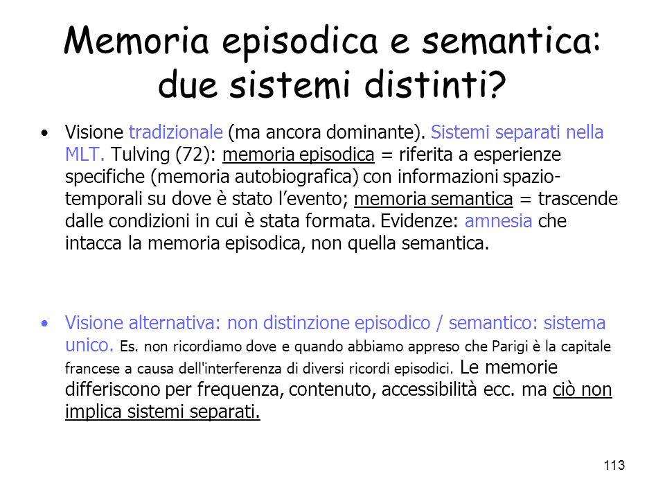 Memoria episodica e semantica: due sistemi distinti