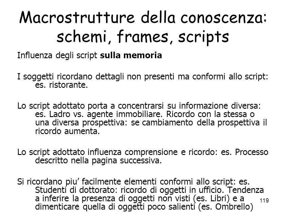 Macrostrutture della conoscenza: schemi, frames, scripts