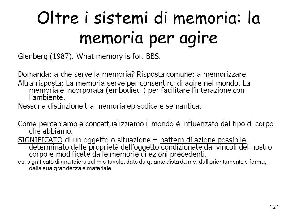 Oltre i sistemi di memoria: la memoria per agire
