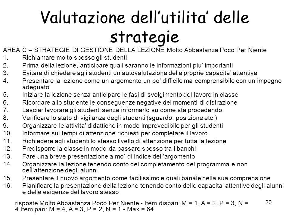 Valutazione dell'utilita' delle strategie