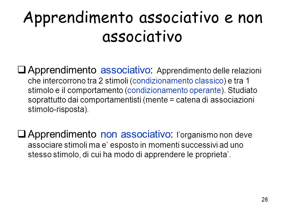 Apprendimento associativo e non associativo