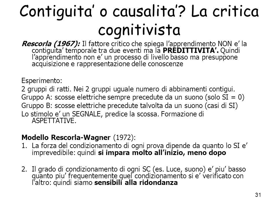 Contiguita' o causalita' La critica cognitivista