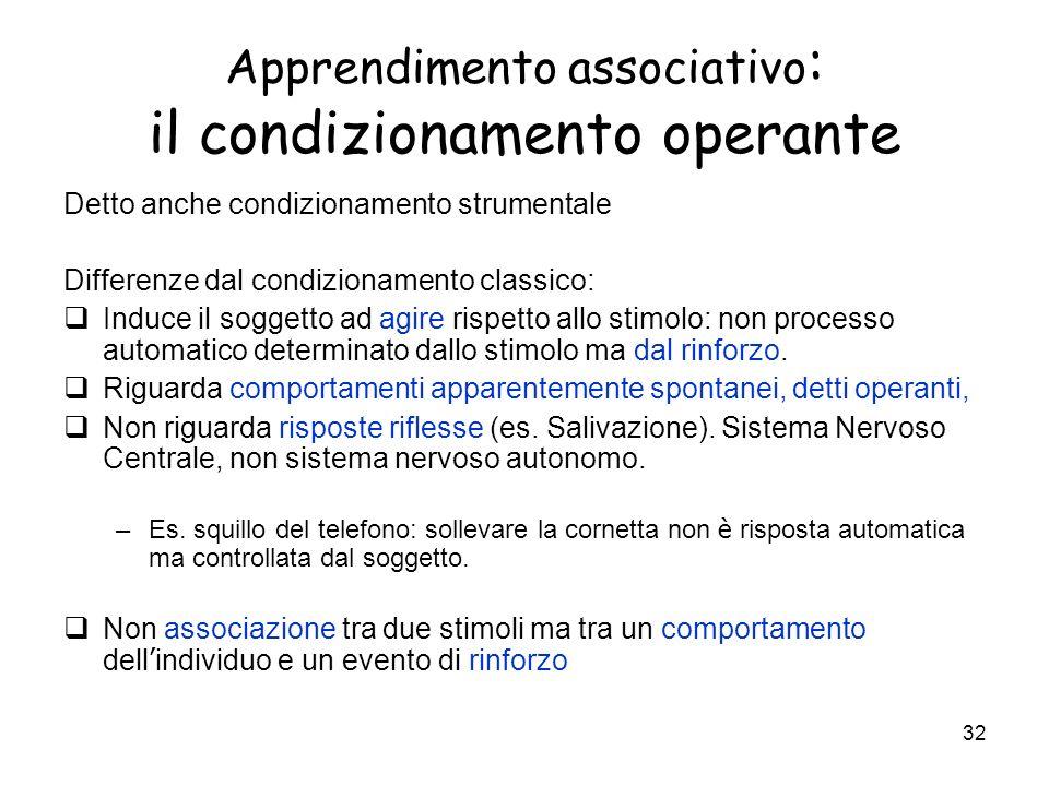 Apprendimento associativo: il condizionamento operante