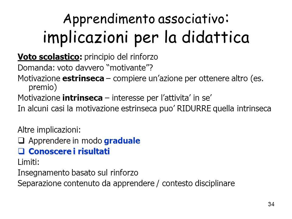 Apprendimento associativo: implicazioni per la didattica