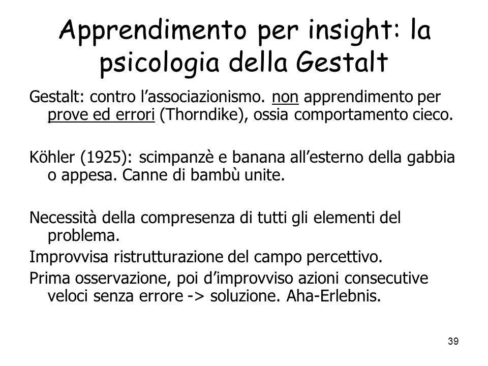 Apprendimento per insight: la psicologia della Gestalt