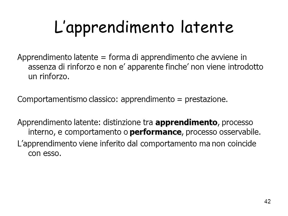 L'apprendimento latente