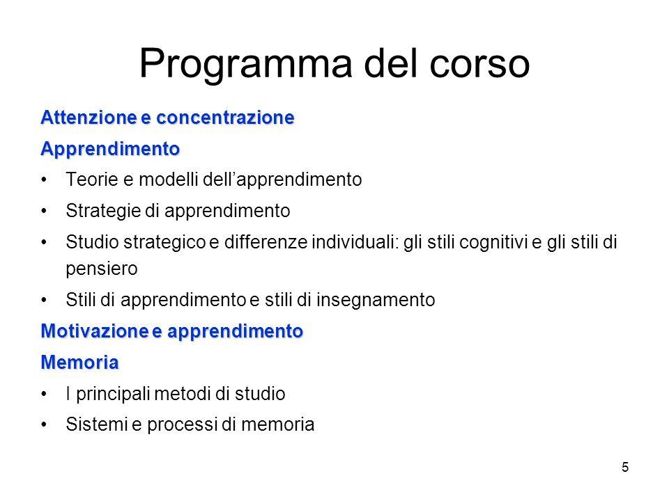 Programma del corso Attenzione e concentrazione Apprendimento