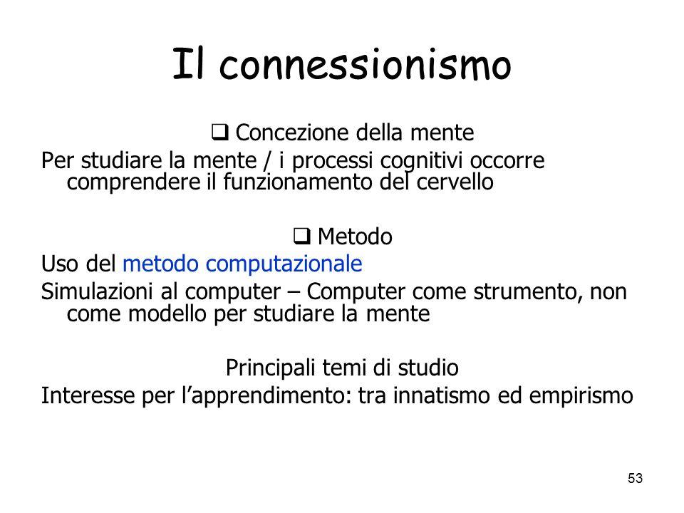 Il connessionismo Concezione della mente