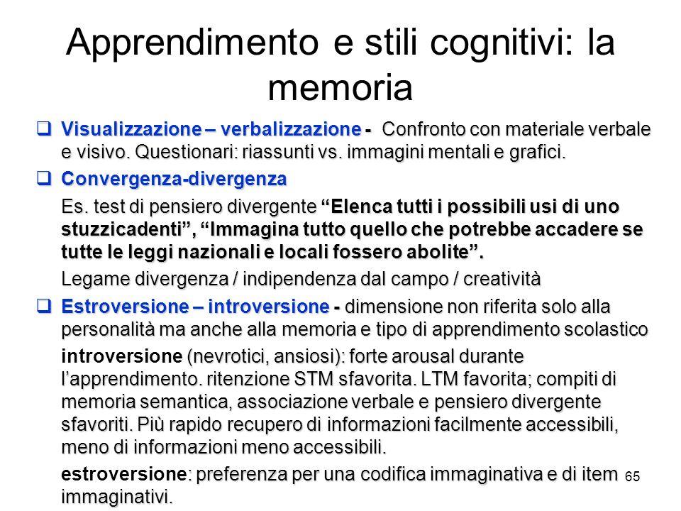 Apprendimento e stili cognitivi: la memoria