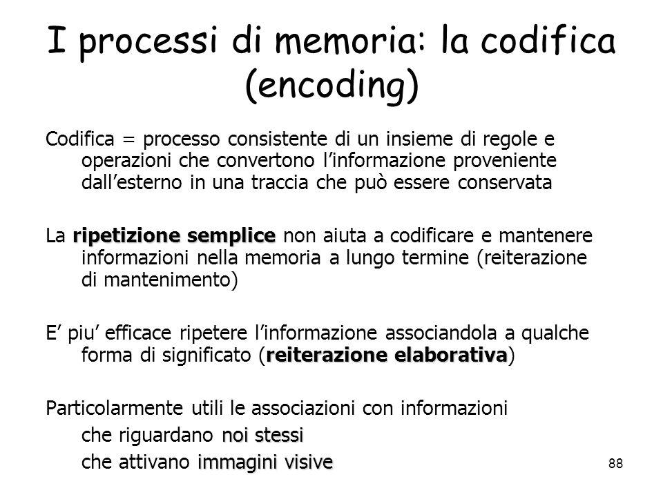I processi di memoria: la codifica (encoding)