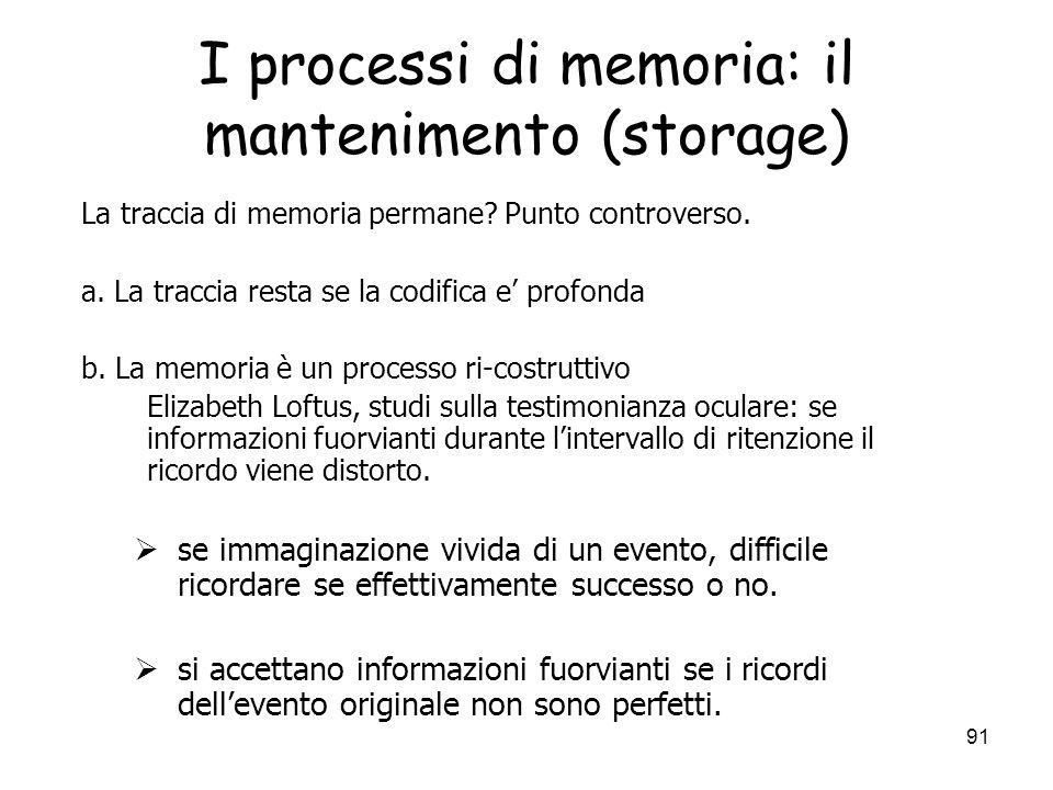 I processi di memoria: il mantenimento (storage)