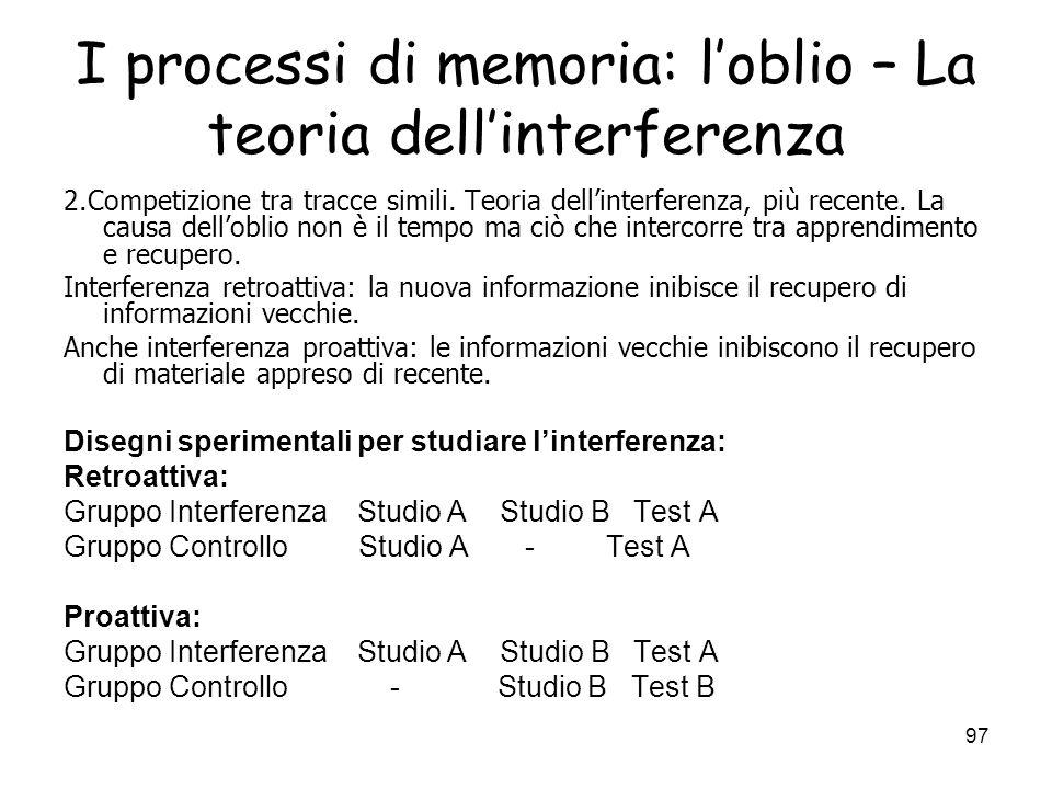 I processi di memoria: l'oblio – La teoria dell'interferenza