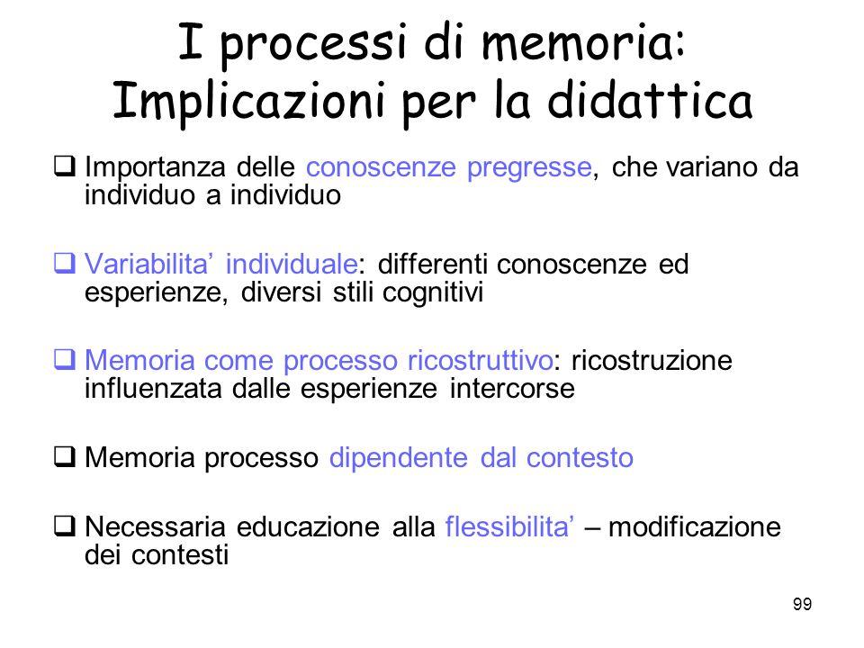 I processi di memoria: Implicazioni per la didattica
