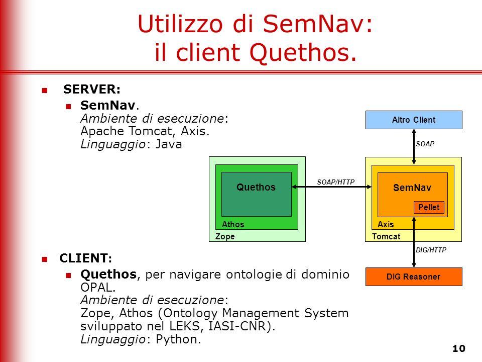 Utilizzo di SemNav: il client Quethos.