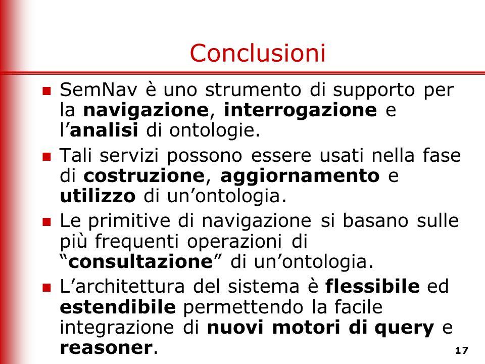 Conclusioni SemNav è uno strumento di supporto per la navigazione, interrogazione e l'analisi di ontologie.