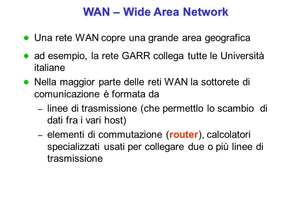 WAN – Wide Area Network Una rete WAN copre una grande area geografica