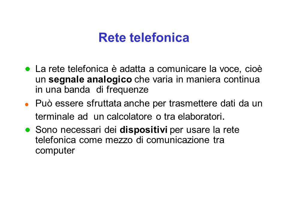 Rete telefonica La rete telefonica è adatta a comunicare la voce, cioè un segnale analogico che varia in maniera continua in una banda di frequenze.