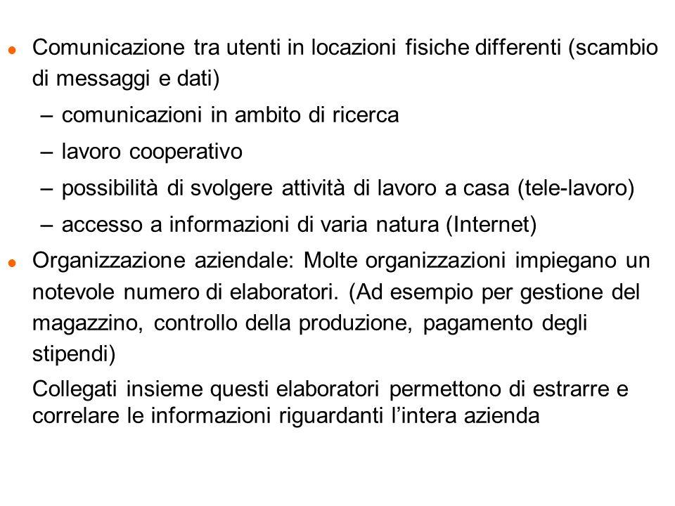Comunicazione tra utenti in locazioni fisiche differenti (scambio di messaggi e dati)