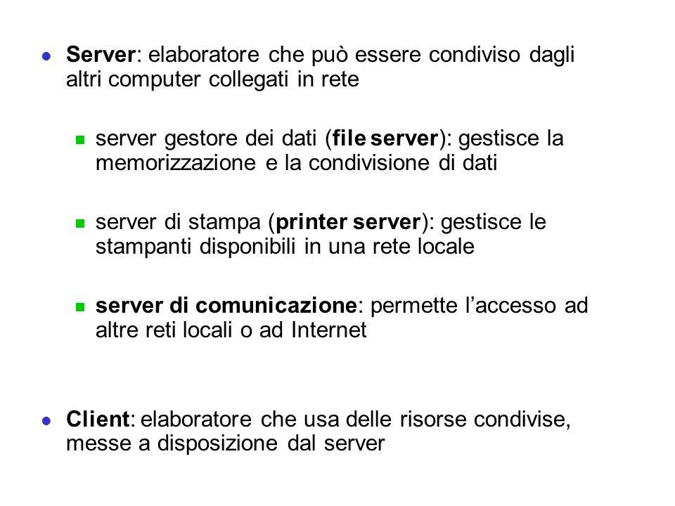 Server: elaboratore che può essere condiviso dagli altri computer collegati in rete