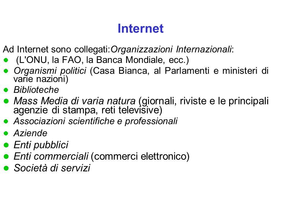 Internet Ad Internet sono collegati:Organizzazioni Internazionali: (L ONU, la FAO, la Banca Mondiale, ecc.)