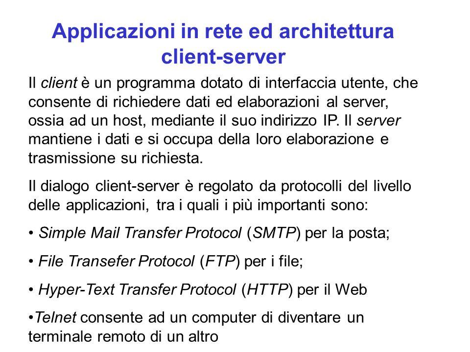 Applicazioni in rete ed architettura client-server
