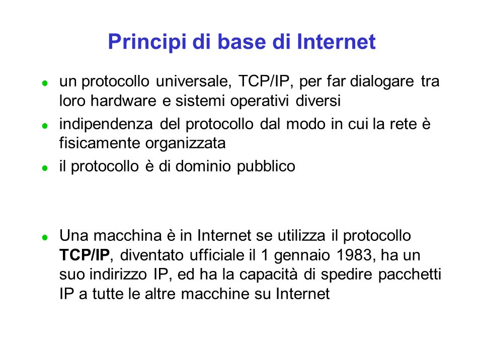Principi di base di Internet