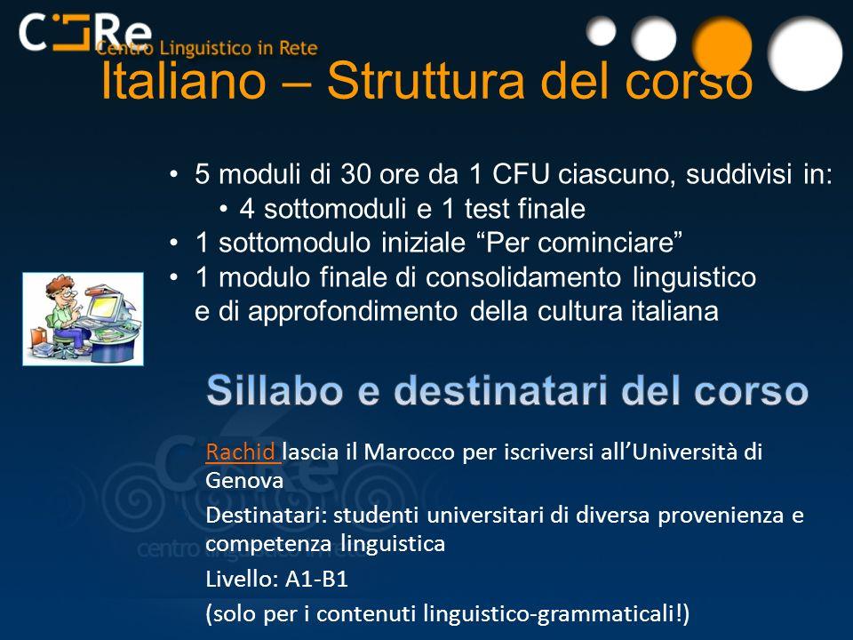 Italiano – Struttura del corso