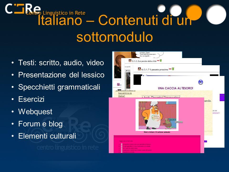 Italiano – Contenuti di un sottomodulo