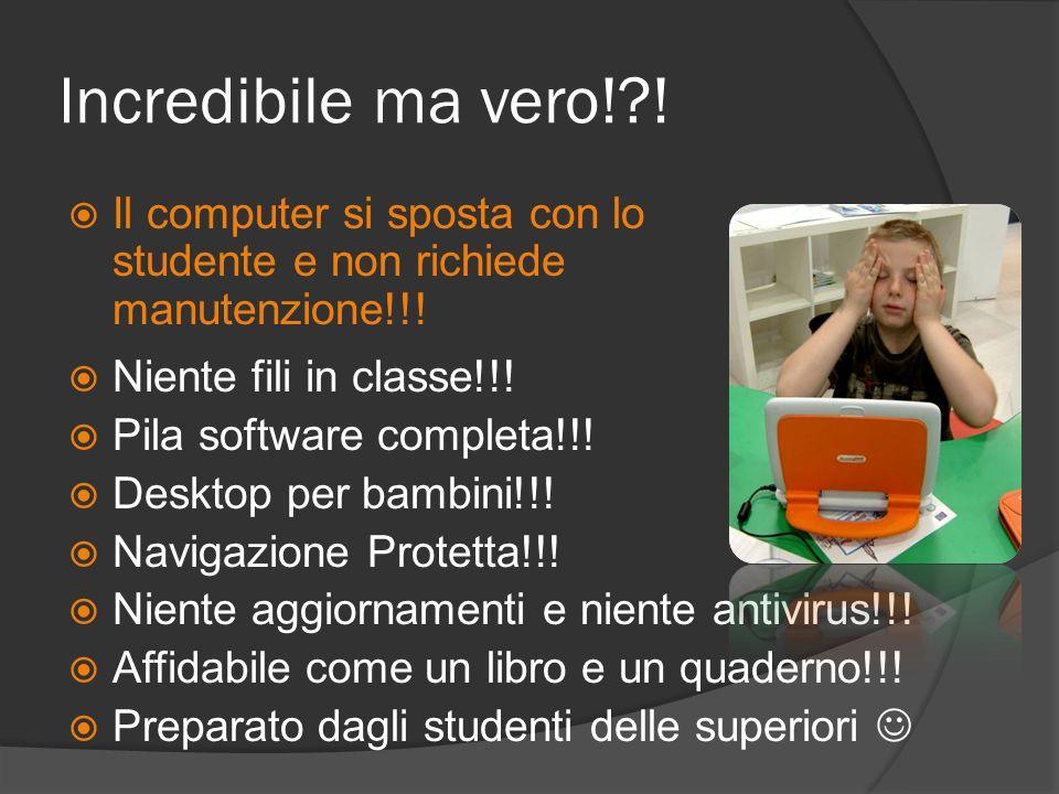 Incredibile ma vero! ! Il computer si sposta con lo studente e non richiede manutenzione!!! Niente fili in classe!!!