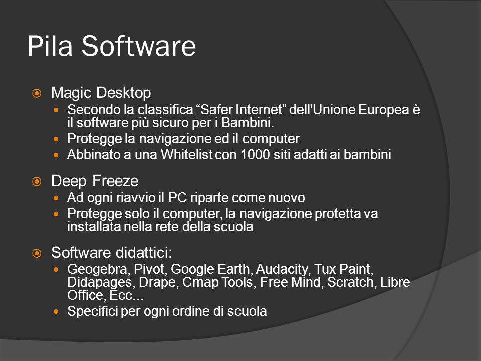Pila Software Magic Desktop Deep Freeze Software didattici: