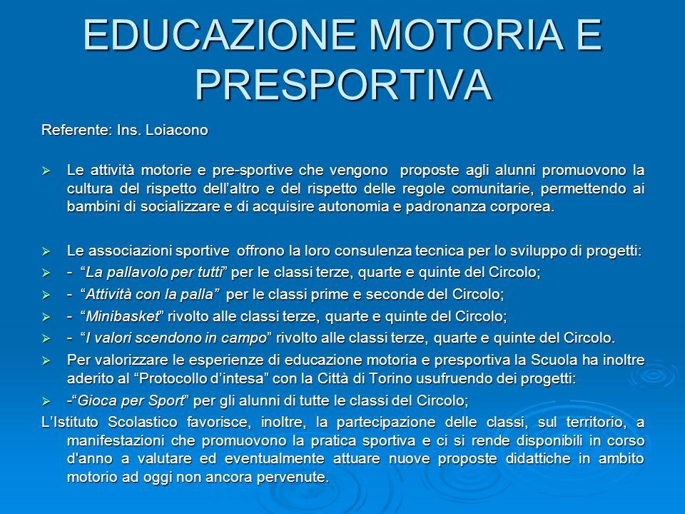 EDUCAZIONE MOTORIA E PRESPORTIVA
