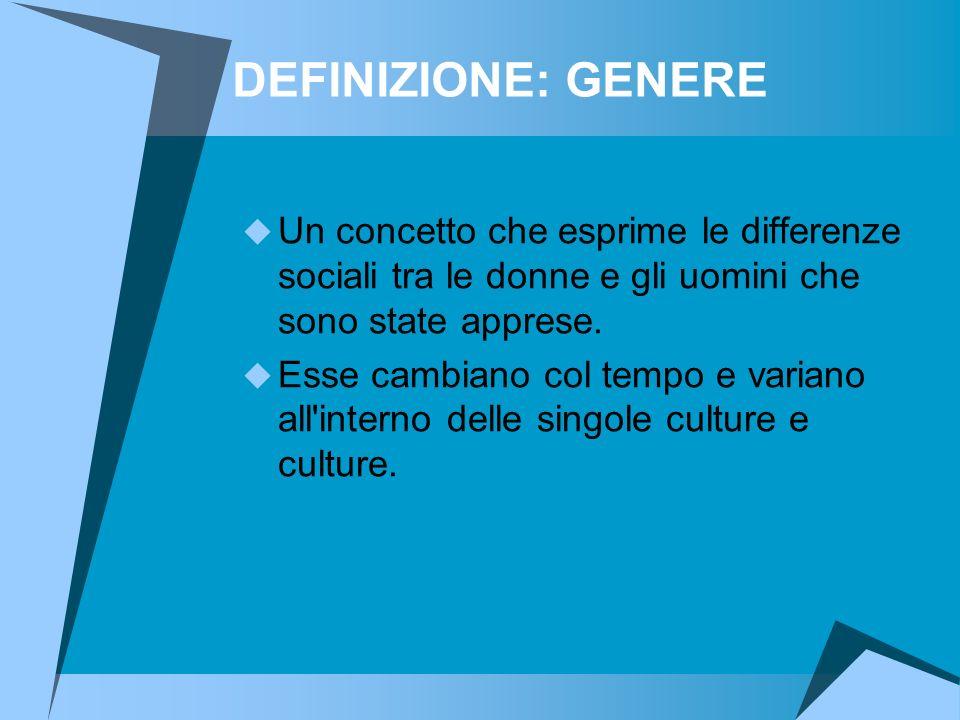 DEFINIZIONE: GENERE Un concetto che esprime le differenze sociali tra le donne e gli uomini che sono state apprese.