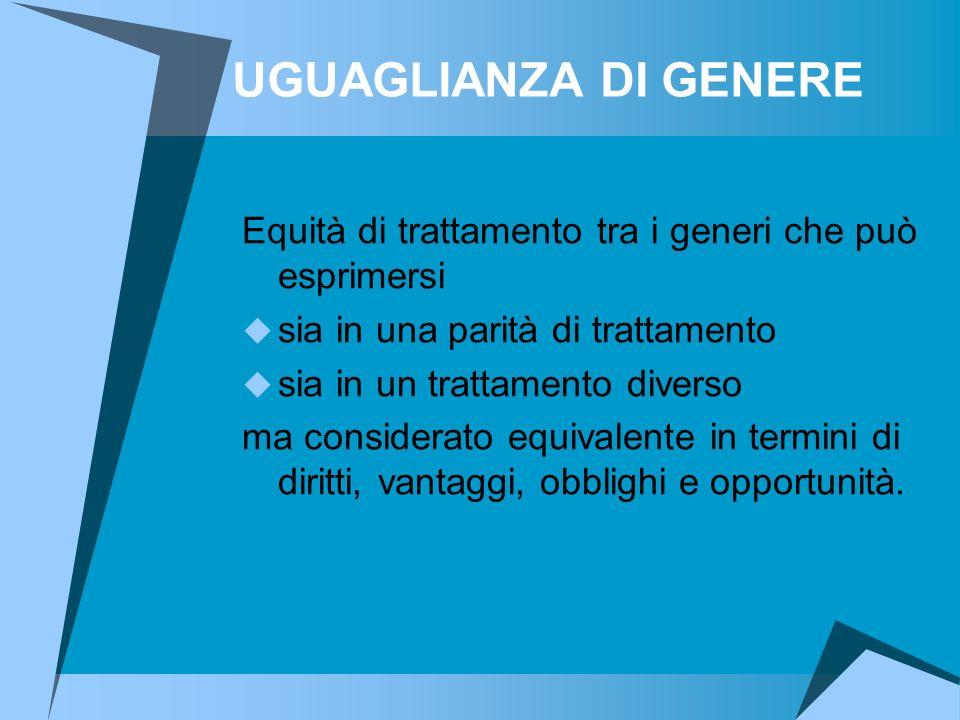 UGUAGLIANZA DI GENERE Equità di trattamento tra i generi che può esprimersi. sia in una parità di trattamento.
