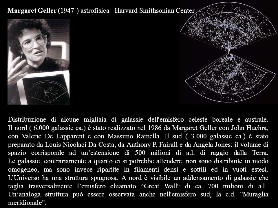 Margaret Geller (1947-) astrofisica - Harvard Smithsonian Center