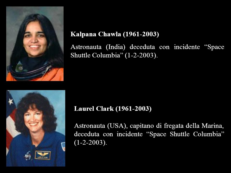 Kalpana Chawla (1961-2003) Astronauta (India) deceduta con incidente Space Shuttle Columbia (1-2-2003).