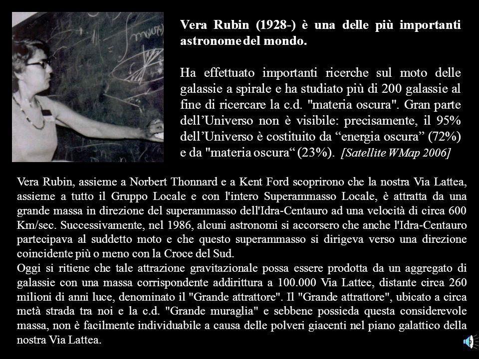 Vera Rubin (1928-) è una delle più importanti astronome del mondo.