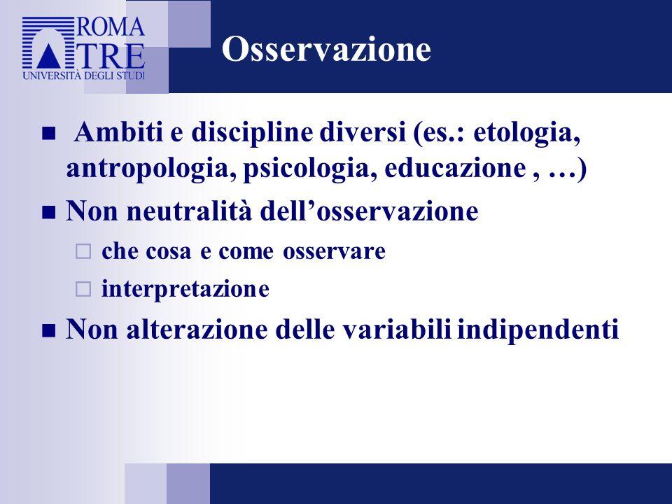 Osservazione Ambiti e discipline diversi (es.: etologia, antropologia, psicologia, educazione , …) Non neutralità dell'osservazione.