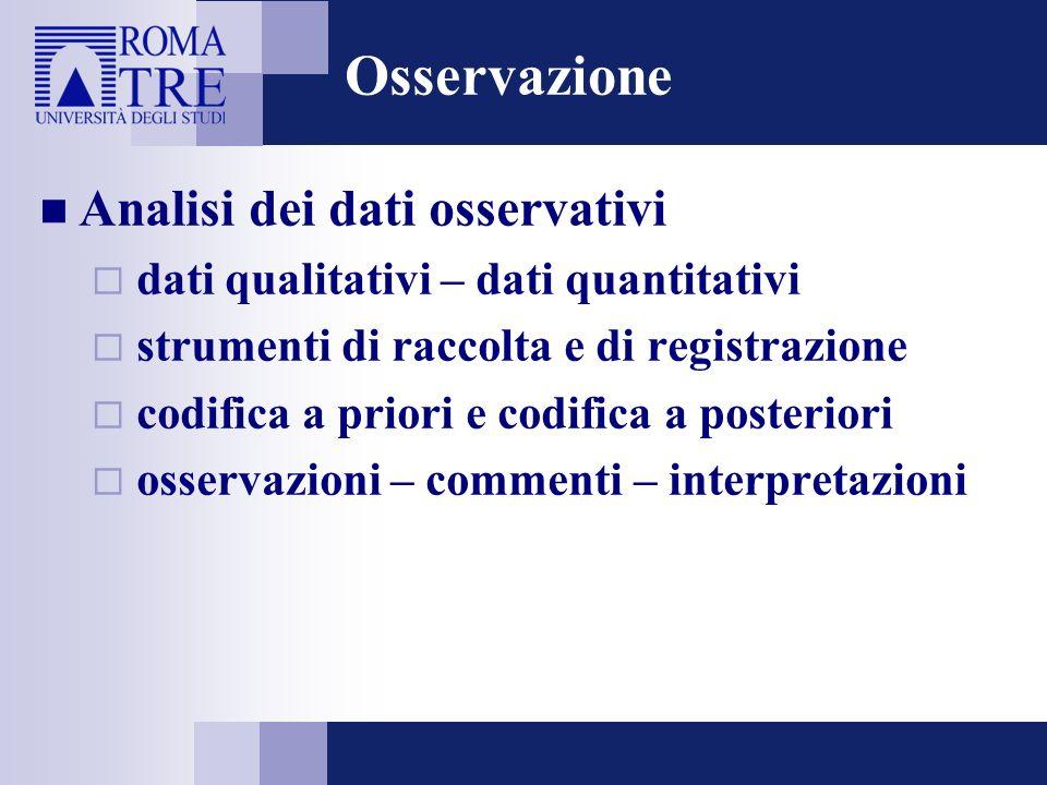 Osservazione Analisi dei dati osservativi